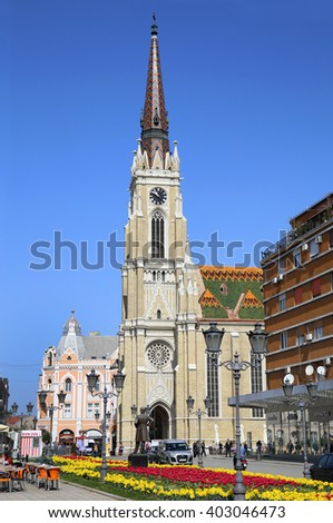 NOVI SAD, SERBIA - APRIL 03: View on Catholic Cathedral from street Modene in Novi Sad, which in this city keeps the summer music festival EXIT. Photographed the in Novi Sad, Serbia on April 03, 2016. - stock photo
