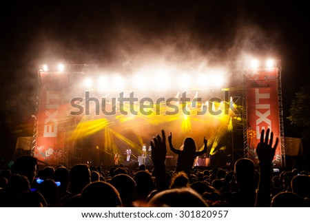 NOVI SAD, SERBIA - JULY 11 2015: Audience infront of the Main Stage at EXIT 2015 Music Festival, during John Newman's performance, on July 11, 2015 at the Petrovaradin Fortress in Novi Sad, Serbia. - stock photo