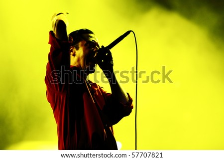 NOVI SAD, SERBIA - JULY 11, Faith No More performing on the Best European Music Festival - EXIT 2010, on July 11, 2010 in the Petrovaradin Fortress in Novi Sad.  - stock photo