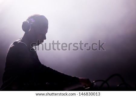 NOVI SAD, SERBIA - JULY 12: Jeff Mills performs at EXIT 2013 Music Festival, on July 12, 2013 at the Petrovaradin Fortress in Novi Sad, Serbia. - stock photo
