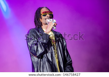 NOVI SAD, SERBIA - JULY 11: Snoop Dogg aka Snoop Lion performs at EXIT 2013 Music Festival, on July 11, 2013 at the Petrovaradin Fortress  in Novi Sad, Serbia. - stock photo