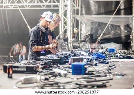 NOVI SAD, SERBIA - JULY 12: Tiga vs DJ Hell perform at EXIT 2014 Best Major European Music Festival, on July 12, 2014 at the Petrovaradin Fortress in Novi Sad, Serbia.  - stock photo