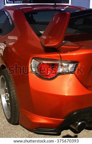 Novi Sad, Serbia: 14. oktober 2015. Orange sport car with a large rear spoiler - stock photo