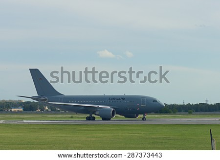 NOVOSIBIRSK - JUNE 12: Airbus A310 MRT of Luftwaffe airlines at Novosibirsk Tolmachevo Airport. Airbus A310 Multi Role Tanker aerial refueling tanker aircraft. June 12, 2015 in Novosibirsk Russia - stock photo