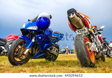 NOVYY URENGOY, RUSSIA - JUNE 25, 2016: Sport motorcycles Honda CBR-series at the countryside. - stock photo