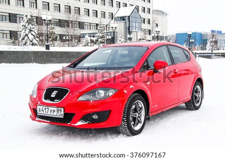 NOVYY URENGOY, RUSSIA - MARCH 1, 2013: Motor car SEAT Leon in the city street. - stock photo