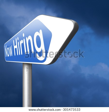 now hiring, job opening and vacancy search and find jobs - stock photo