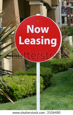 Now Leasing Sign - stock photo