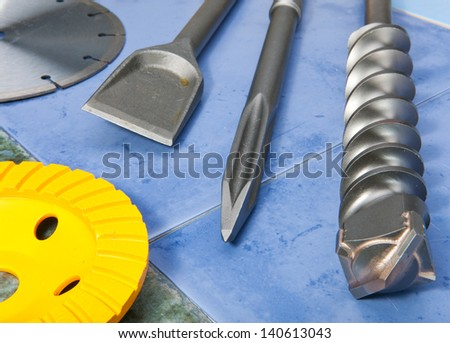 Nozzles for the puncher and a detachable diamond disk - stock photo