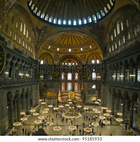 nside the Hagia Sophia, Istanbul, Turkey. - stock photo