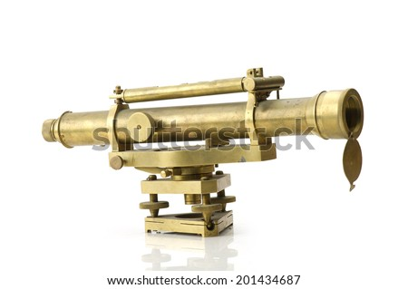 ntage brass telescope on white background - stock photo