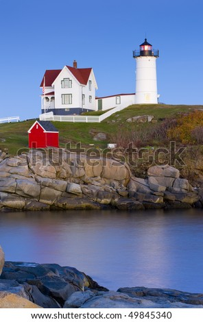 Nubble Lighthouse, Cape Neddick, Maine, USA - stock photo