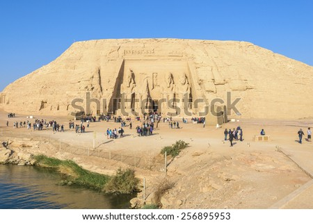 NUBIA, EGYPT - JAN 29: The Great Temple of Abu Simbel on January 29, 2015 in Nubia, Egypt. The temple was dismantled and relocated in 1968 when Aswan dam was built. - stock photo