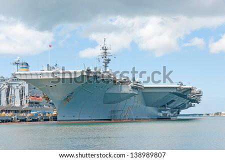 nuclear aircraft carrier - stock photo