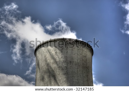 nuclear cooling tower closeup - stock photo
