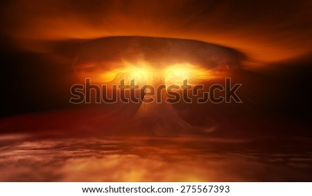 Nuclear Explosion and wave in sky - stock photo