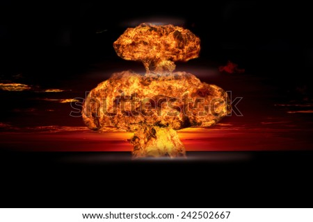 Nuclear explosion in an outdoor setting. Symbol of environmental protection and the dangers of nuclear energy - stock photo