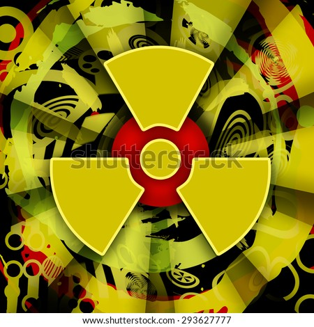 Nuclear explosion, radioactive background - stock photo