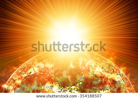 Nuclear Missile impact  on burning Earth.  Third world war, end of the world, aerial view - stock photo