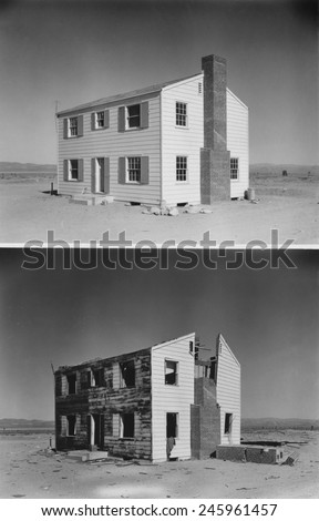 Nuclear 'Operation Cue' tested buildings' ability to survive atomic bombs. Before and after photos of a two-story wood frame house 5,500 feet from ground zero. April 4, 1955. - stock photo