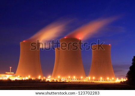 Nuclear power plant at night - Temelin, Czech Republic - stock photo