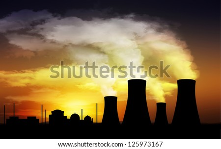 nuclear power plant,cooling tower - stock photo