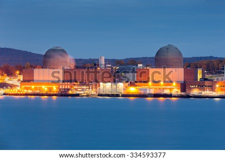 Nuclear power plant on the Hudson River, north of New york City - stock photo