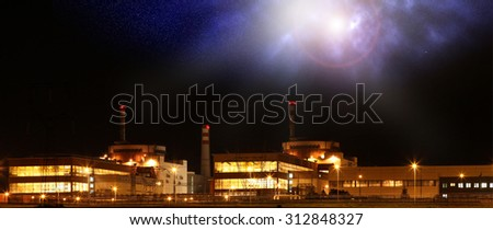 Nuclear power plant Temelin at night in Czech Republic Europe - stock photo