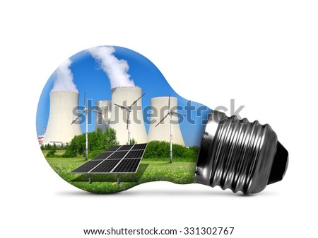 Nuclear power plant with solar panel and wind turbines in lightbulb isolated. Energy resources concept. - stock photo