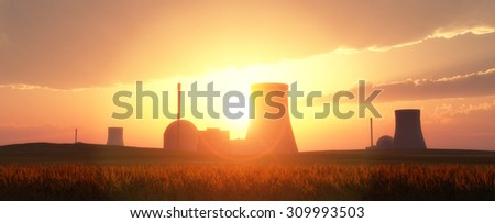 nuclear power plants in a wheat field and sunset - stock photo