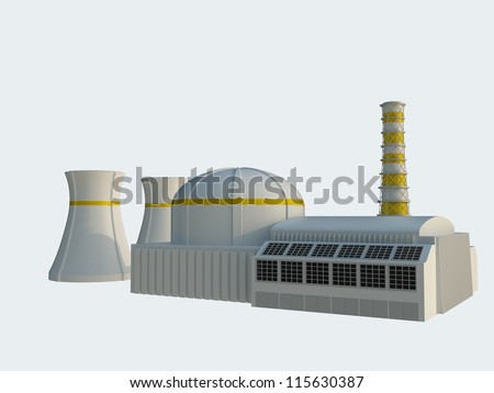 Nuclear power station Isolated on white background - stock photo