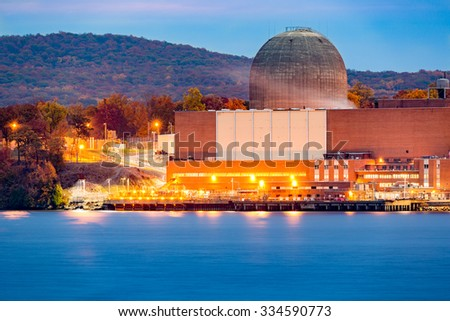 Nuclear reactor on the Hudson River, north of New York City - stock photo