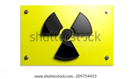 Nuclear warning sign isolated on white background  - stock photo