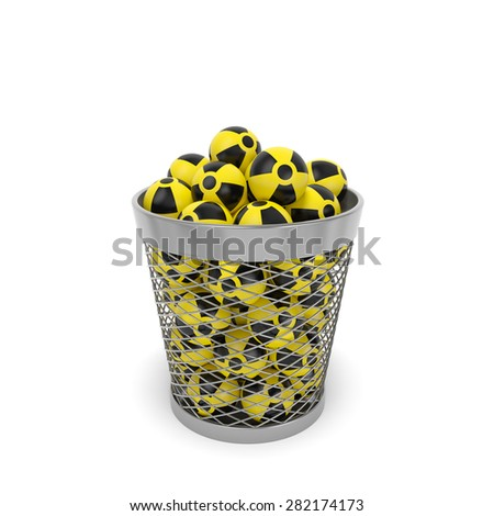 Nuclear waste (radiation ecology concept). Radioactive isotopes with nuclear sign in the trash bin (wastebasket) as symbol of serious problem of atomic waste utilization and environmental conservation - stock photo
