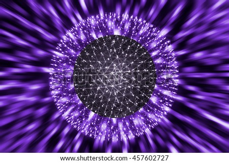 Nucleus of Atom Ball or Nuclear Explode Ray radiation light science concept. - stock photo