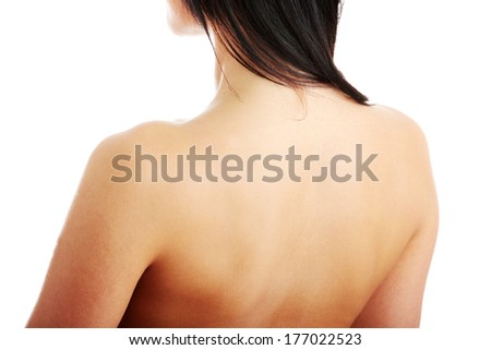Nude Beautiful Female Body From Behind Neck Close Up Isolated On White
