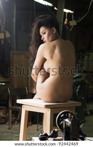 Nude beauty brunette - stock photo