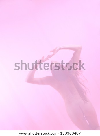 Nude  girl, gently-pink background. Soft diffused light through white cloth. (Nude in pink fog)/Purity - stock photo