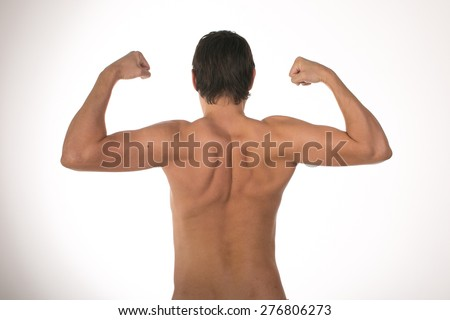 Nude muscular back men on white background  - stock photo