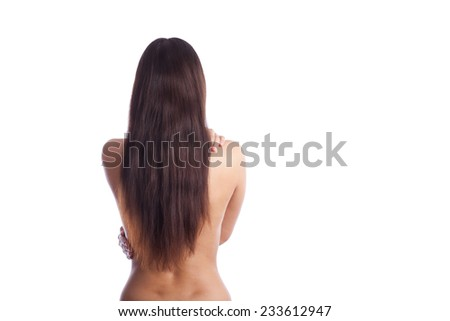 nude woman back and brown hears - stock photo
