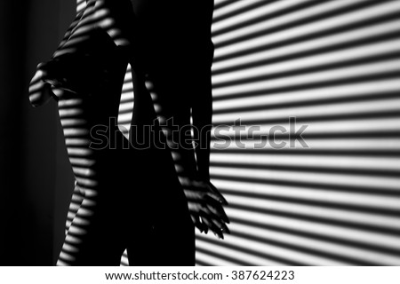 nude woman sexy Artistic black and white phot - stock photo