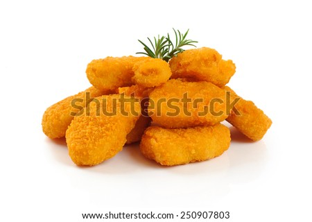 Nuggets isolated on white background - stock photo