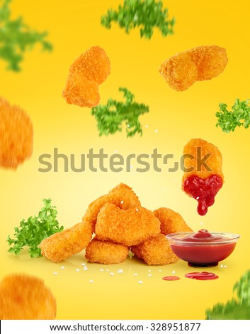 Nuggets, lettuce and ketchup.  - stock photo