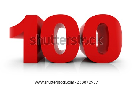 number 100 - stock photo