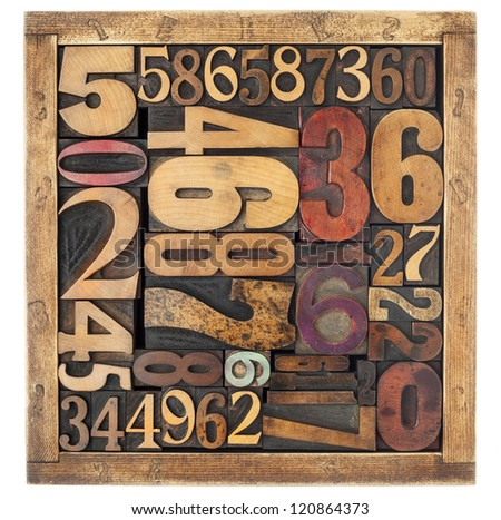 number abstract - vintage letterpress wood type blocks in a box, different size and style - stock photo