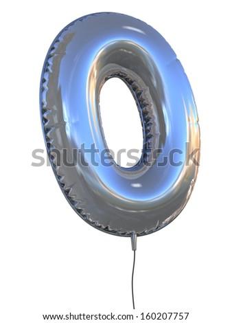 number 0 balloon 3d illustration - stock photo