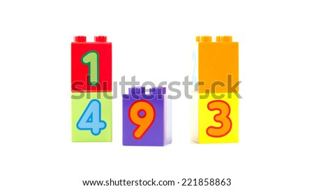 Number Block Toys  isolated on a white background - stock photo