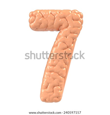 Number 7. Brain alphabet isolated on white background.Brain font.  - stock photo