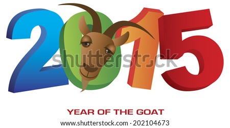 Number 2015 Chinese New Year of the Goat Colorful Numbers Isolated on White Background with Text Raster Vector - stock photo