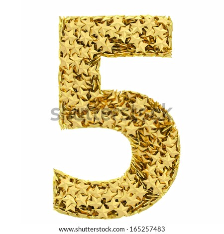 Number 5 composed of golden stars isolated on white. High resolution 3D image - stock photo